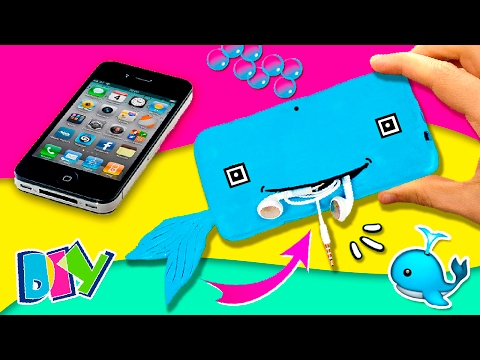 🐳  DIY SILICONE Phone Case with POCKET 📱 How to make WHALE wallet Phone Case 🐳