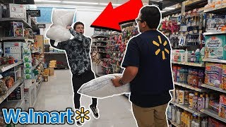 TRYING TO GET KICKED OUT OF WALMART (PILLOW FIGHT WITH WALMART WORKERS)