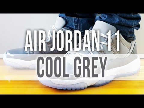 AIR JORDAN 11 RETRO LOW COOL GREY on Feet and close up