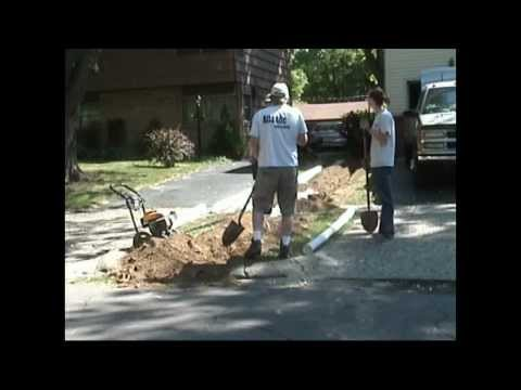 Atlantic Drain ~ HOWTO install downspout drain line ~ How-to dig trench tunnel sidewalk and cover