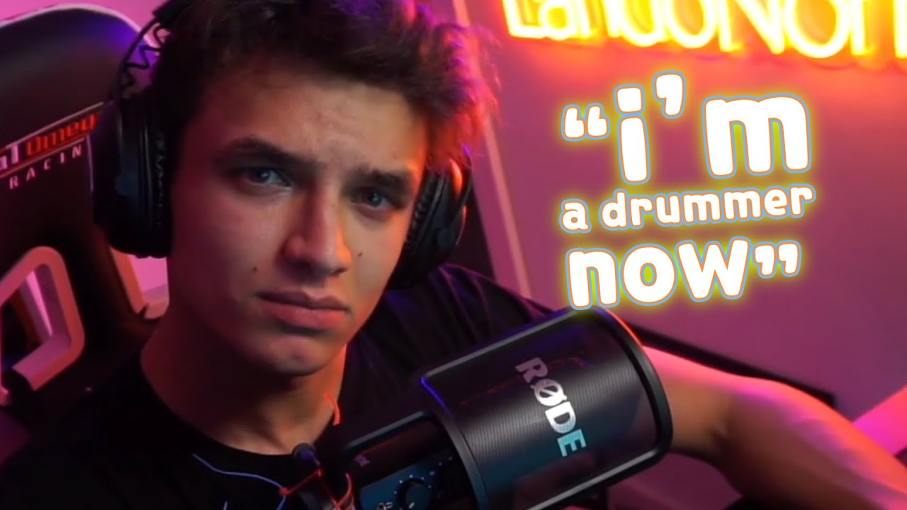 Lando Norris plays drum for the first time LIVE!