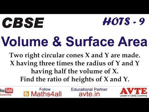Two right circular cones X & Y are made. X having 3 times radius Y. Y having 1/2 vol of X. || HOTS 9