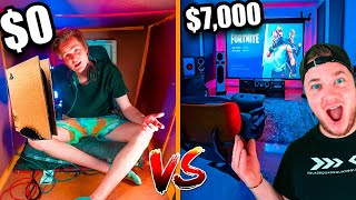 $1 Vs $7,000 Gaming Box Fort *Budget Challenge*