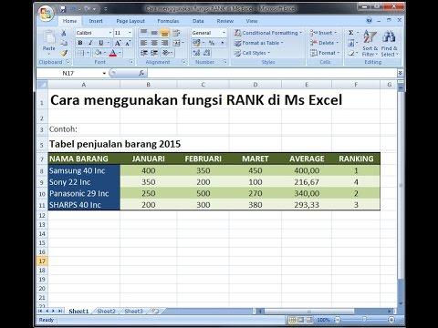 Excel 2007 Tutorial  Cara menentukan ranking dengan rumus RANK di Ms Excel