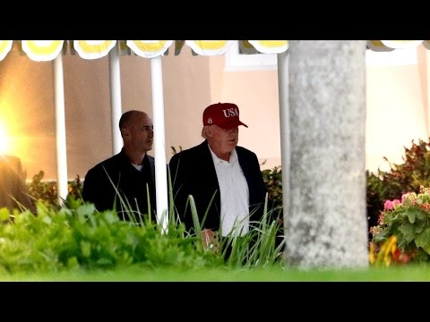Donald Trump Sports Red USA Hat with Number 45 For Presidency