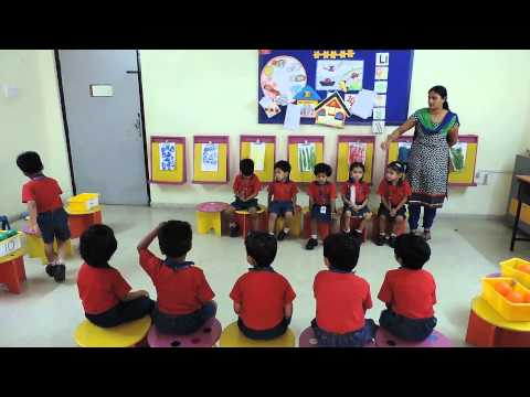 Identification of numbers- Play Way Method by PP-I students - Top CBSE School in Hyderabad 2017