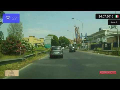 Driving through Roma (Italy) from Aeroporto di Fiumicino to Trastevere 24.07.2016 Timelapse x4