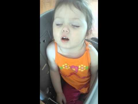 Toddler snoring in chair & wakes herself up