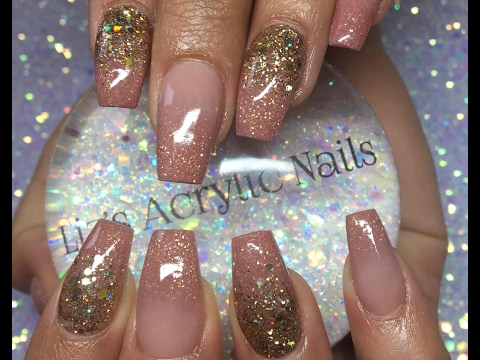 Acrylic Nails | Infill Ombre And Glitter | Rose Gold