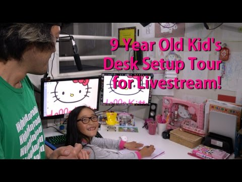 9 Year Old Kid's Desk Setup Tour for Livestream! [HelloKitty PC]