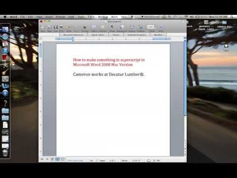 How to format Superscript on Word 2008 for Mac