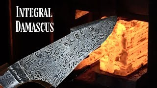 Knife Making - Explosion Damascus Integral Bowie Knife : Collab With Floris Postmes