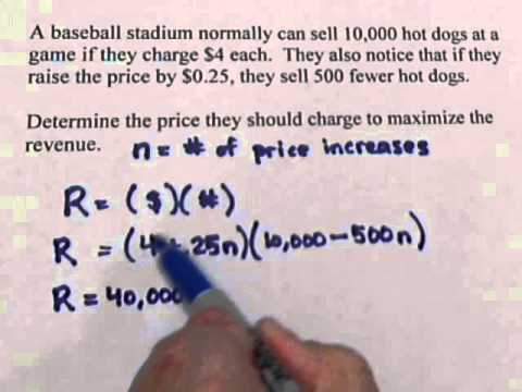 Hot Dogs -- Maximizing Revenue (calculus)