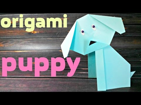 Origami puppy dog  animals easy tutorial 3d instructions.Origami diagrams for children,for beginners