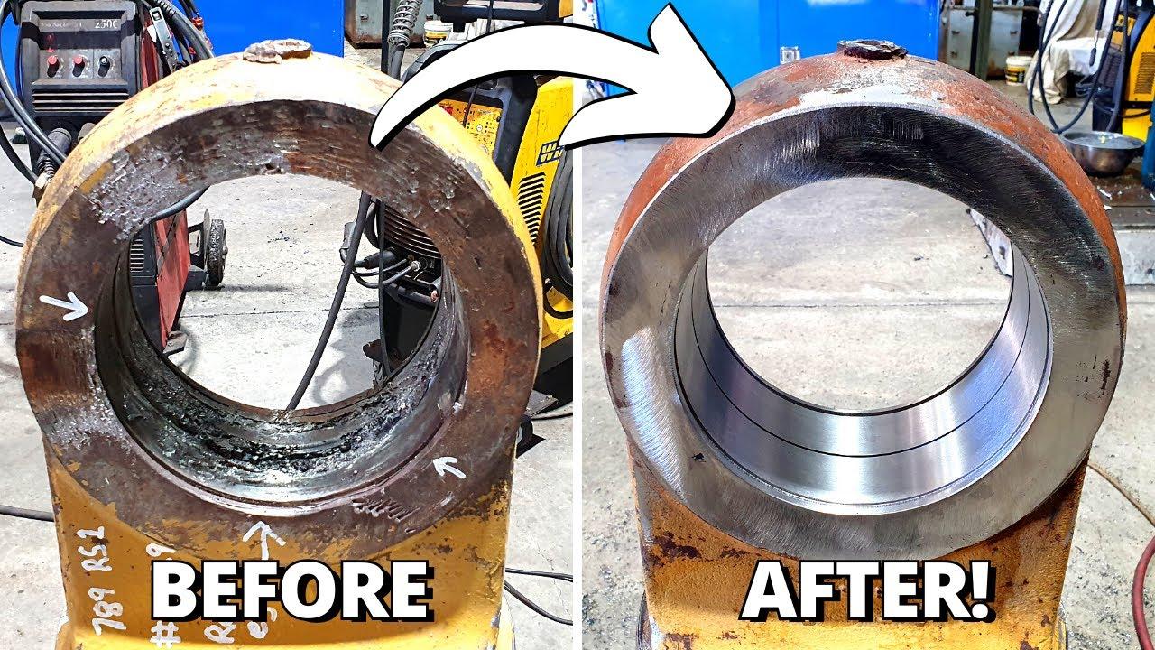 Line boring and Bore welding CAT 789 Dump Truck suspension part   Sir Meccanica WS2