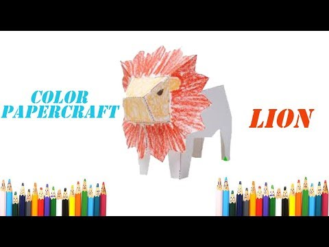 Color Papercraft : How to Make Paper Lion and Coloring - papercraft 99