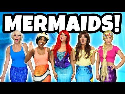 DISNEY PRINCESS MERMAIDS. (Ariel, Rapunzel, Tiana, Belle, Elsa and Ursula at Ariel's Birthday)