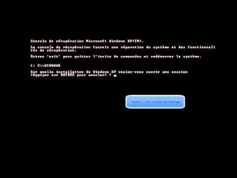 Réparer le demarrage (fixboot & fixmbr) de windows xp avec le CD d'installation