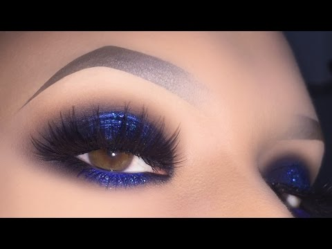 Sexy Blue Smokey for Brown Eyes - Glitter Halo Makeup Tutorial using PuroBIO