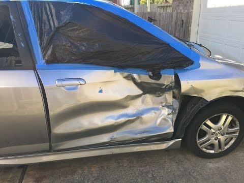 Honda FIT Side Hit Repair of Door Hinge Pillar and Complete Paint Job