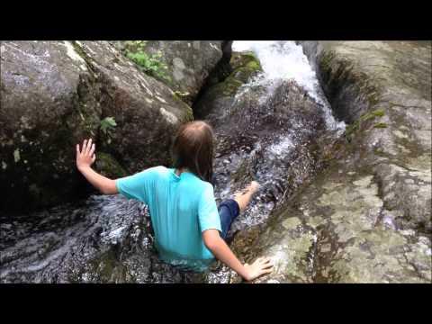 Basia @ Big Mary's Creek swimming hole slide.