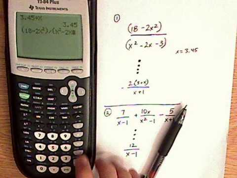 algebra - rational expressions - TI-84 - examples