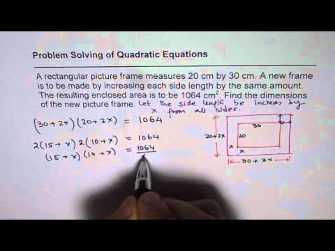 Find Dimensions of Rectangular Picture Frame with Increased Area Quadratic Functions