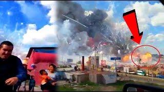 Captan Impactante explosión de pirotecnia en el mercado de Tultepec