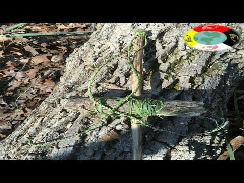 Primitive cord drill  and hand drill fire with stone tools
