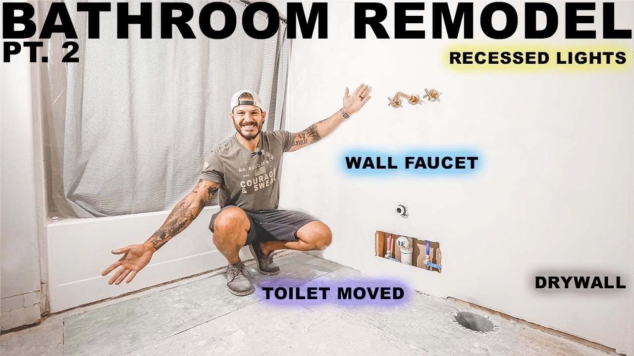 Bathroom Remodel Pt.2 Plumbing, Electrical & Drywall