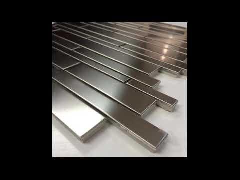 Stainless Steel Brick Pattern 2x6 Metal Mesh Mounted Subway Mosaic Tile