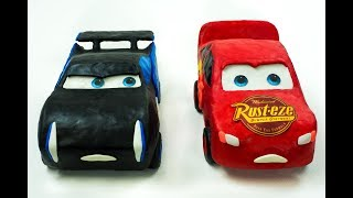 Cars 3 Jackson Storm vs. Lightning McQueen Play Doh | Race to the Finish Line
