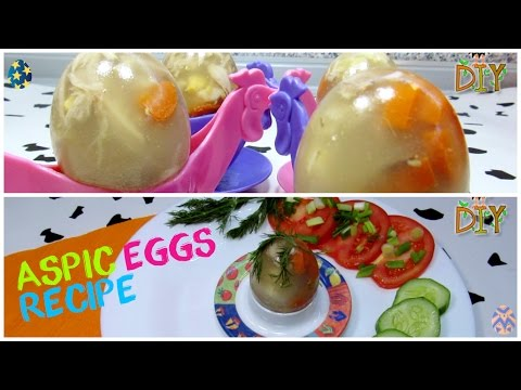Beautiful Jelly Eggs With Chicken Broth And Vegetables - Aspic Eggs Recipe Tutorial
