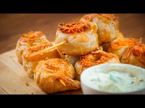 How to make Simple Snack Puff Pastry Rolls With Cheese And Bacon