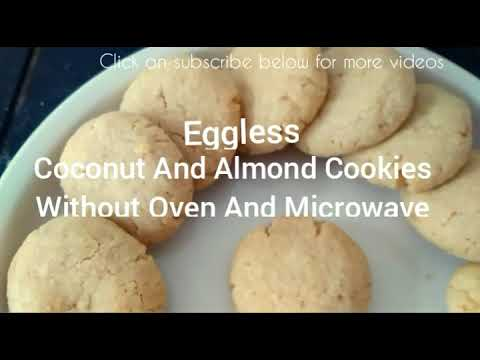 Eggless Coconut And Almond Cookies Without Oven And Without Microwave