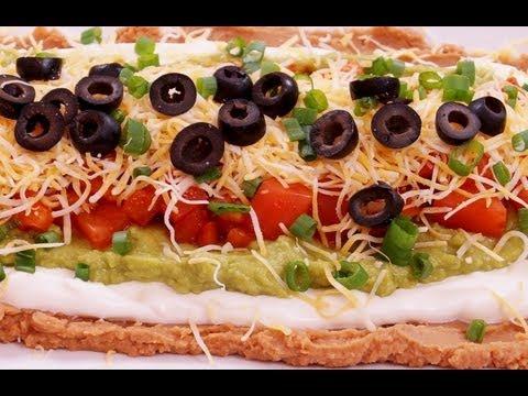 7 Layer Dip:Recipe:Mexican Bean: Easy! Super Bowl: How to Make: Di Kometa-Dishin' With Di Recipe #42