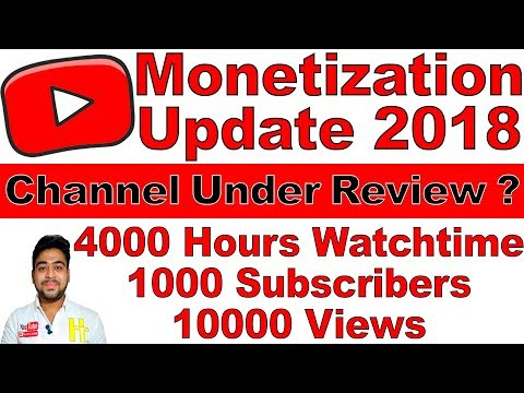 YouTube Monetization 2018 UPDATE || How to Check ? 4000 HOURS WATCH TIME 1000 SUBS 10k VIEWS | Hindi