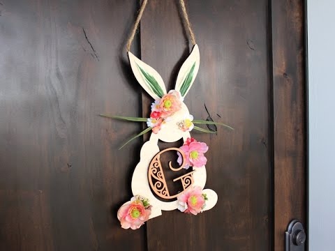 Spring Bunny Monogram Wreath
