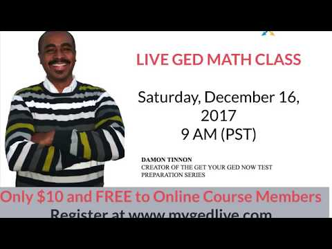 Live Online GED Math Class -  Sat., Dec. 16, 2017