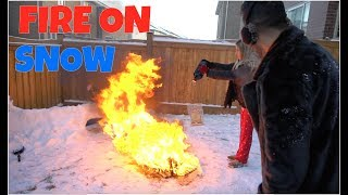 PUTTING FIRE on SNOW!!
