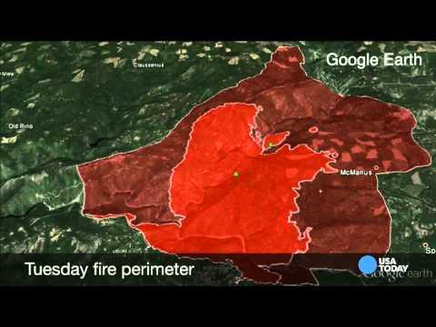 California King fire Google Earth flyover
