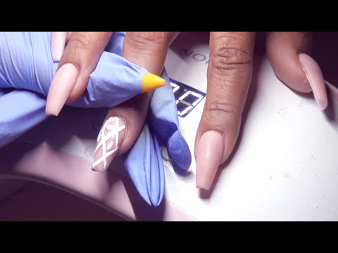 HOW TO: Elegant Neutrals with Hand Painted Nail Art Acrylic Nails