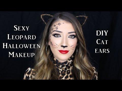 Sexy Leopard Halloween Makeup Tutorial + DIY Cat Ears