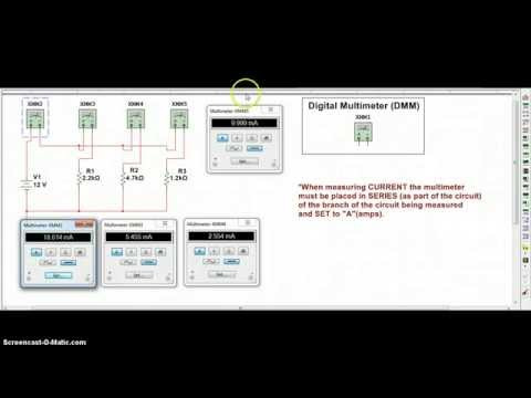 Multisim 12 Use DMM to Measure Current in a Parallel Circuit