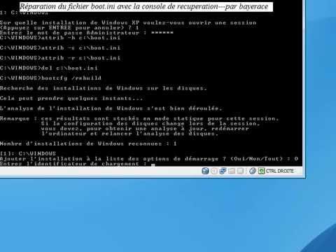 Réparer le fichier boot.ini avec la console de recupération