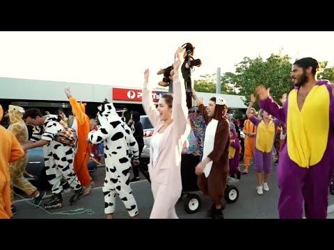 Massive onesie party surprises street festival