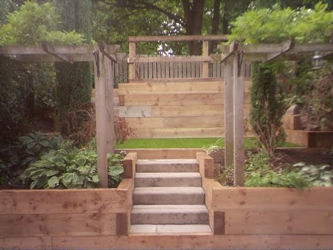 Time-Lapse Garden Landscaping: Railway Sleeper retaining walls, Stone steps & Artificial Grass