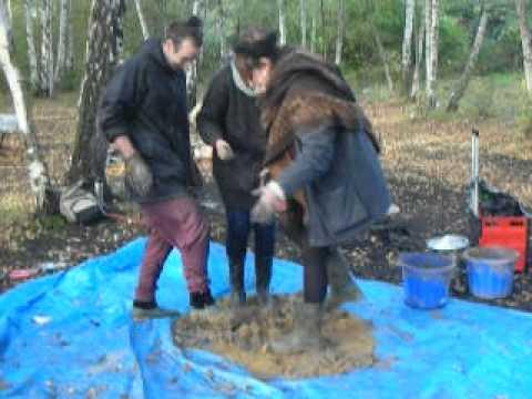 Posh Cob making cob for building a rocket stove