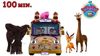 Wheels On The Bus Go Round And Round Rhymes Songs for Children - Animal Sounds Song | Mum Mum TV
