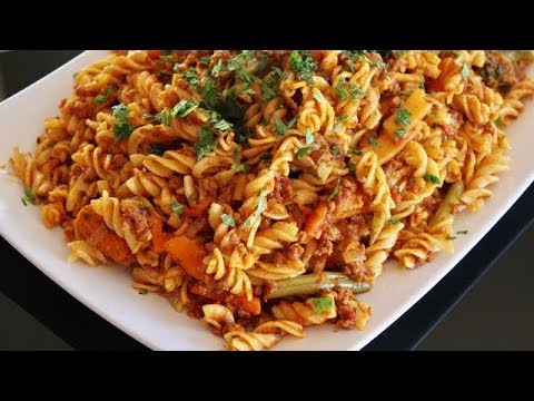 Homemade Easy Pasta Recipe - Afghani Cooking Channel - Macaroni With Meat